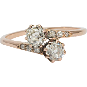 Antique diamond ring cross-over/ you and me engagement ring Art Nouveau/Victorian circa 1900