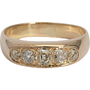 Antique diamond half hoop ring 18 k yellow gold circa 1890