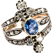 Antique Victorian diamond sapphire ring 18 k yellow gold silver circa 1880