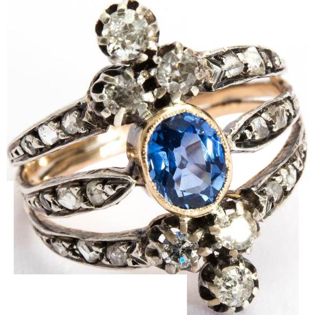 Antique Victorian diamond sapphire ring 18 k yellow gold silver circa 1880