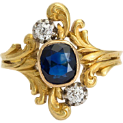 Antique Art Nouveau ring Diamond Sapphire 18 k yellow gold circa 1900