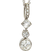 Antique 0.88 cwt diamond pendant platinum 900 Edwardian circa 1910