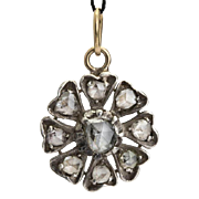 Antique Georgian diamond pendant silver and 18 k yellow gold circa 1820 s