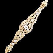 Antique Belle Epoque diamond bar brooch 18 karat yellow gold circa 1900