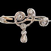 Antique Art Nouveau diamond brooch circa 1900