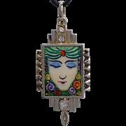 Art Deco enamel pendant Fortune Teller Gypsy Woman gold silver circa 1925 s