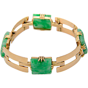 Natural Untreated Jade bracelet 18 k yellow gold Art Deco circa 1930 Gemological Lab report