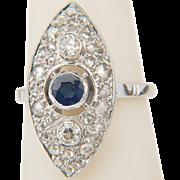 Art Deco diamond and sapphire ring circa 1930-35