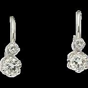 Diamond earrings 0.40 cwt Color F Clarity VS 18 k white gold drop lever back Vintage earrings