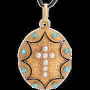 Antique locket pendant 18 karat yellow gold natural pearl turquoise black enamel French Victorian circa 1880