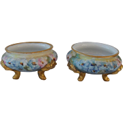 Gorgeous Set of Two Vintage Handpainted Limoges Floral Open Salts 1913