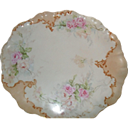 Antique Delicate Romantic Victorian Tea Pink and Peach Roses Limoges France Hand Painted Porcelain Tray Circa 1900