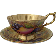 Aynsley Orchard Gold Gilt Teacup and Saucer Signed Brunt