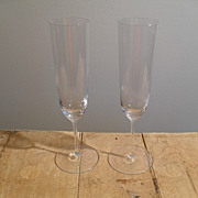 Exquisite Riedel Mid-Century Glass Champagne Flutes (8)