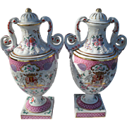 """Pair of Vintage Armorial Pink Gold Purple on White Mantle Urns 12"""""""