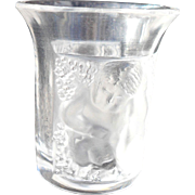 Vintage Lalique Les Enfants Shot Liqueur Vodka Glass Signed Frosted and Clear