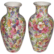 Vintage Pair of James Kent Staffordshire du Barry Chintz Pattern Vases