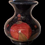 Signed Vintage William Moorcroft Pomegranate and Berry Cobalt Vase
