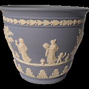 Vintage Wedgwood Blue/White Jasperware Jardiniere Cachepot Mews Children