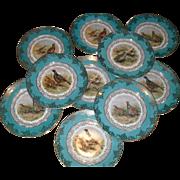 10 E Bavaria Gold Encrusted Game Bird Turquoise Dinner Plates