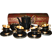 Stunning Art Deco Okura Josephine 24k Gold Black Tea/Coffee/Chocolate Set 1154