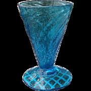 Vintage Venetian Handblown Peacock Blue Swirl Wine Glass Stemware
