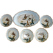 Outstanding Antique Lewis Straus and Sons Limoges Large Gamebird Platter and Five Plates 9 1/4""