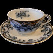 Art Nouveau Royal Staffordshire Burslem Iris Flow Blue Teacup and Saucer