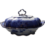 Gorgeous Antique Ridgway Lugano Flow Blue Covered Vegetable Dish