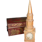One of a Kind Vintage Pine Church Steeple Pocketwatch Holder Hutch