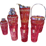 Rare 10 pc Nachtmann Crystal Glass Red Ruby Cut to Clear Martini Shaker/Ice Bucket/Tumbler Set