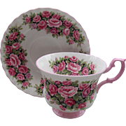 Royal Albert Fragrance Series Pink Rosa Handle Teacup and Saucer