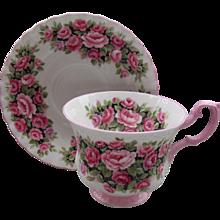 Royal Albert Fragrance Series Pink Rosa Handle Teacup and Saucer