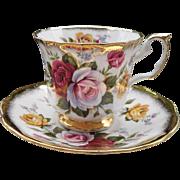 Elizabethan Pink Burgundy Yellow Rose Teacup and Saucer