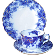 "Early Flow Blue Thomas Till & Son England ""Navy"" Teacup Saucer Plate Trio 1891"