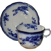 Early Grindleys Flow Blue Marechal Neil Teacup and Saucer 1891