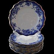 Antique Royal Doulton Flow Blue Sutherland Dinner Plates