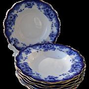 Eight Antique Royal Doulton Sutherland Floral Flow Blue Rimmed Soup Bowls