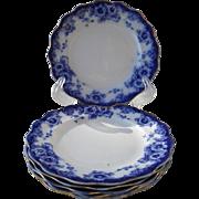 """Six Antique Royal Doulton Sutherland Flow Blue Salad Plates 7 1/2"""""""