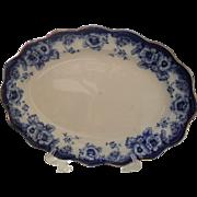 "Antique Royal Doulton Flow Blue Sutherland Floral Platter 17 1/2"""