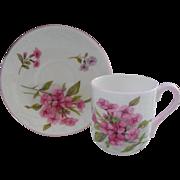 Miniature Shelley Pink Stocks 13428 Teacup/Saucer Canterbury