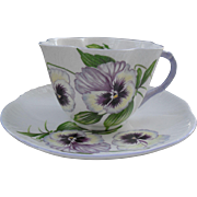 Vintage Shelley Purple Handle Pansy 13823 Teacup/Saucer Dainty