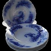 Six Antique JG Meakin Wentworth Flow Blue Rimmed Soup Bowls