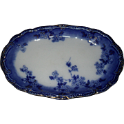Gorgeous Early Ridgway Lugano Flow Blue Relish Dish