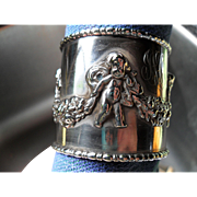 Beautiful Sterling Silver Napkin Ring Cherubs Angels Rose Garland
