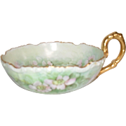 Early HP J Pouyat Limoges Pink and Green Apple Blossoms Gold Serving Bowl