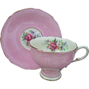 Early Paragon Corset Shape DW Queen Mary Pink Floral Rose Teacup and Saucer