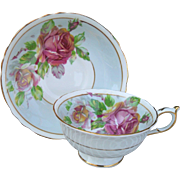 Paragon DW Queen Mary Pink Cabbage Roses DW Teacup and Saucer
