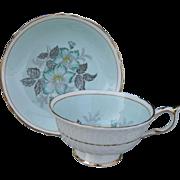 Vintage Paragon Turquoise Floral Aqua Gold Teacup and Saucer