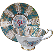 Vintage Paragon Paisley Turquoise Gold Cabinet Teacup and Saucer